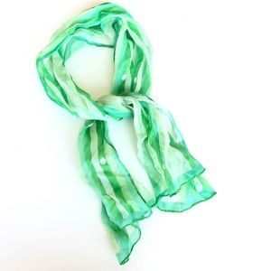 Vintage Green Striped Silk Scarf